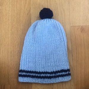 Other - Blue Pom Pom Yarn Knit Hat
